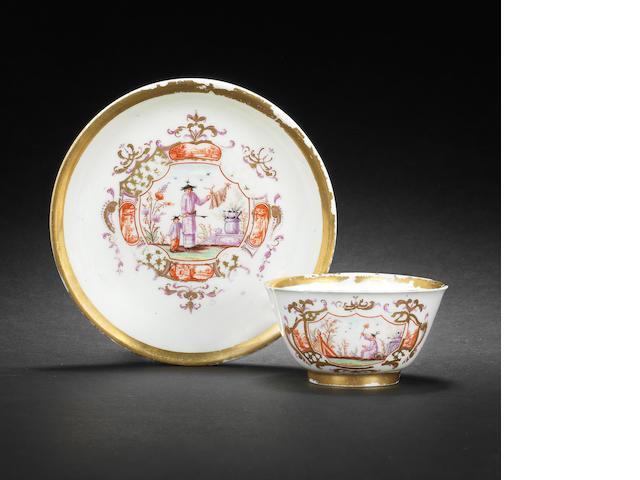 A Meissen Hausmaler teabowl and saucer circa 1718-28