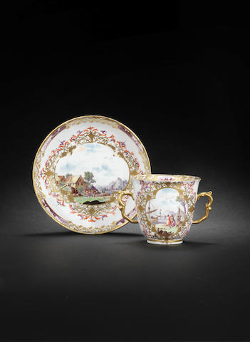 A Meissen double-handled beaker and saucer circa 1730