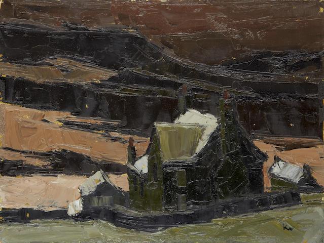 Sir Kyffin Williams R.A. (British, 1918-2006) Cottage in a Welsh landscape