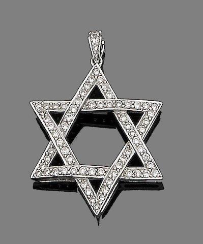 A diamond-set star pendant
