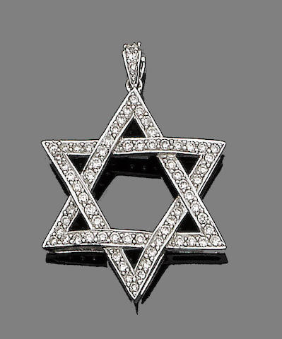 A diamond-set star pendant