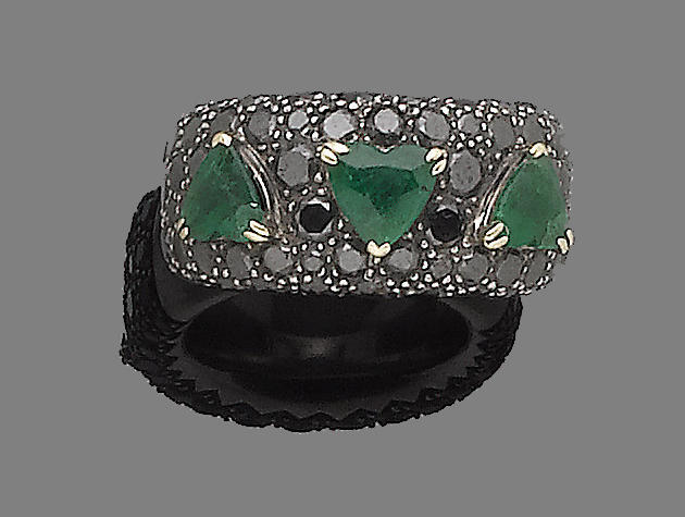 An emerald and diamond dress ring, by De Grisogono