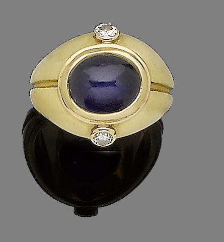 A sapphire and diamond ring, by Bulgari