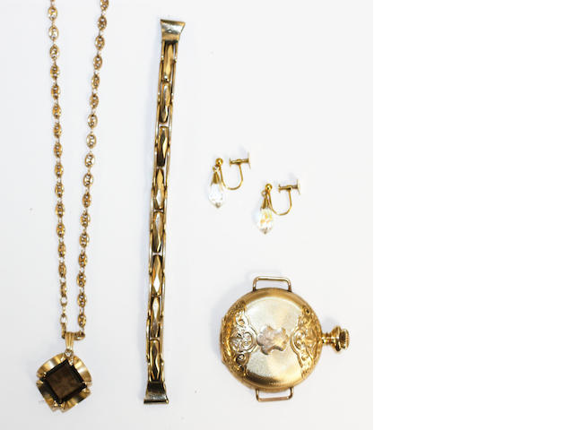 A 14ct gold pocket watch and 9ct gold strap, a 9ct gold pendant and stone and a pair of screw back earings.