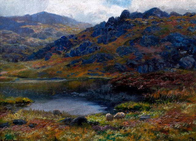James Henry Crossland (British, born 1852) Lakeland landscape with sheep grazing
