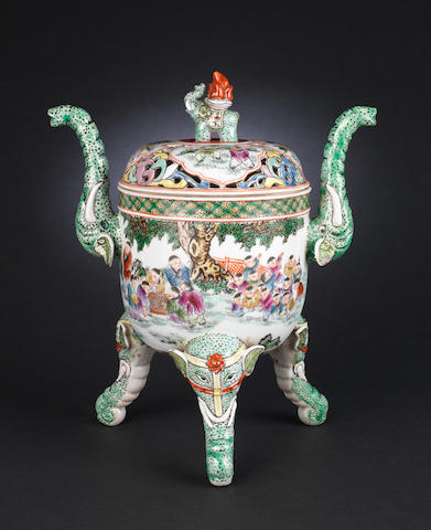 A famille rose, tripod incense burner and cover Qianlong six-character seal mark