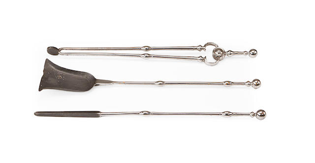 A set of Regency steel fire tools