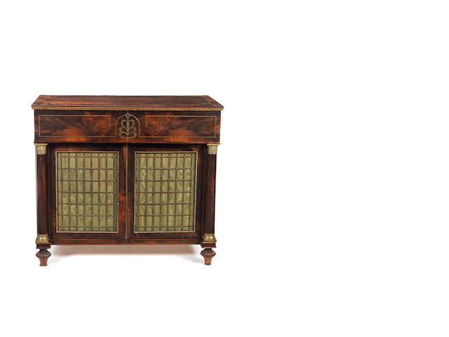 A Regency rosewood, crossbanded and brass marquetry inlaid secretaire side cabinet