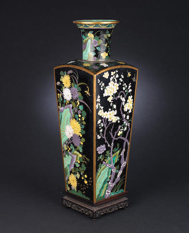 A squared, tapering cloisonné vase Qianlong incised six-character seal mark