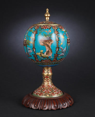 A cloisonné enamel stem-jar and cover