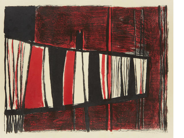 Sir Terry Frost R.A. (British, 1915-2003) Red and Black Composition