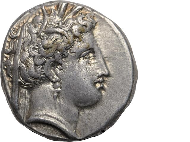 Lucania, Metapontum, Stater, 340-300 BC 7.85g. Johnson-Class A:8.3. Obverse: Demeter wearing necklace with two vertical barley ears behind stephane and two narrow leaves. Reverse: ΜΕΤΑ - Barley ear with amphora symbol on leaf. Extremely beautiful obverse.