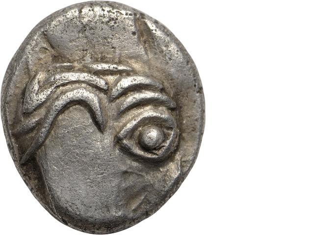 Eastern Celtic Imitation of Philip II - Kapostal Type, 2nd-1st Century BC, Obol 0.83g. Gobi 506, cf. Kostial-828-35. Obverse: Abstract head facing right. Reverse: Stylized horse prancing left.
