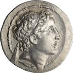 Cappadocian Kingdom, Ariarathes VII, 116-101 BC, Tetradrachm 16.48g. SNR 57 1978, The coinages of Ariarathes VI and Ariarathes VII of Cappadocia by O. Morkholm pi. 42 #14. Obverse: Diademed head of king right within fillet border. Reverse: ΒΑΣΙΛΕΩΣ ΑΡΙΑΡΕΘΟΥ ΦΙΛΑΟΜΗΤΟΡΟΣ, Athena standing left holding hand spear and shield decorated with large Medusa head in her left hand, on extended right hand, Nike is turned right with wreath, king's name in three vertical lines, ΔI monogram above A in outer left field, O in inner left field, Λ in inner right field, all within laurel wreath border.