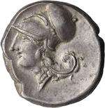 Bruttium, Medma, Stater, c. 330-320 BC 8.22g. Calciati-5, HN-2424. Obverse: Pegasus flying left in plain field. Reverse: Head of Athena left wearing Corinthian helmet also in plain field.