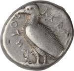 Sicily, Akragas, Tetradrachm, 472-420 BC 17.3g. Obverse: ΑΚRΑ(C)-ΑΝΤΟΣ (retrograde), eagle standing left. Reverse: Crab. Struck on a smooth, nearly circular planchet.