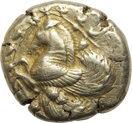 Mysia, Lampsakos, Electrum Stater, 500-450 BC 15.20g. Babelon PI. 8,4, Boston-1585, BMC-8. Obverse: Forepart of Pegasus no bridle; prominent forelock; a vine wreath with bunches of grapes, leaves and tendrils surrounds the border. Reverse: Quadripartite incuse square. Attractive bright golden patina is seen on each side lending originality.