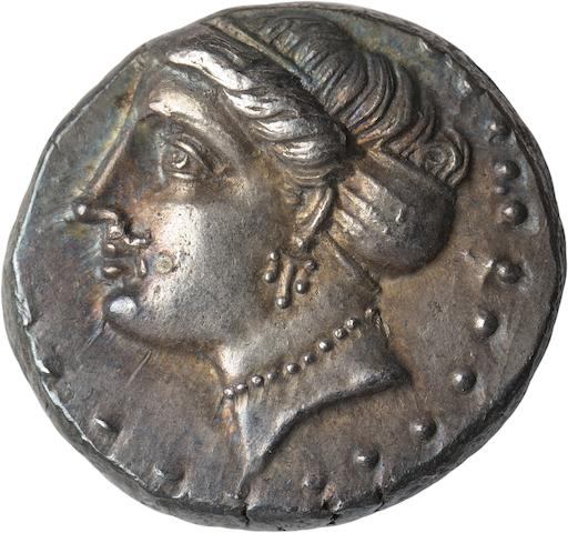 Paphlagonia, Sinope, Drachm, 333-306 BC 4.98g. BM SNG Black Sea-1481. Ex NFA 3/93 #205. Obverse: Female head left, wearing ampyx and sphendone, triple pendant earring, and pearl necklace. Reverse: (Σ)INΩ beneath sea eagle with spread wings alighting left on dolphin left, ΑΓΡΕ under wing.