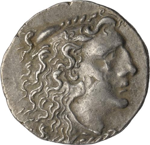 Pontic Kingdom, Mithradates VI; 120-63 BC, Tetradrachm, Odessa, 83-82 BC 16.21g. Price-1193. Second Mithraic War, struck in the name of Alexander III. Obverse: Diademed head of the deified Alexander the Great facing right. Reverse: ΒΑΣΙΛΑΙΕΩΣ ΑΛΕΞΑΝΔΡΟΥ, Athena seated left holding eagle in extended right hand; ΛΑΚ monogram above knee, OΔΗ below in exergue.