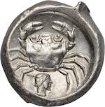 Sicily, Akragas; Didrachm, 480 BC 8.46g. Jenkins IV, ANS SNG-958. Obverse: Sea eagle faces right, legends AK and PA above and below. Reverse: Crab with archaic male head below. A rare and desirable type.