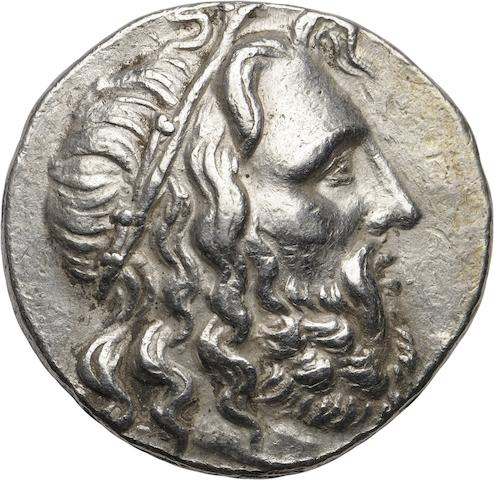 Macedon, Kings of Macedon, Antigonus III Doson, 229-221 BC, Tetradrachm 17.12g. Jameson I 1008; Hess-Leu, 24 March 1959, lot 174 (same dies), Mektepini-699 (same obverse die). Obverse: Head of Poseidon right wreathed with sea grass. Reverse: ΒΑΣΙΛΑΕΩΣ ΑΝΤΙΓΟΝΟΥ on side of prow, upon which is seated Apollo, holding a bow in his outstretched hand, monogram below and M in exergue. Scarce monogram.