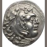 Macedon, Kings of Macedon, Alexander III the Great, 336-323 BC, Chios, Drachm, c. 290-265 BC 4.06g. Unpublished. Obverse: Head of Herakles right in lion skin. Reverse: ΑΛΕΞΑΝΔΡΟΥ, Zeus seated left, naked to waist, holding eagle, Triskeles symbol in left field under eagle.