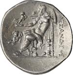 Macedon, Kings of Macedon, Alexander III the Great, 336-323 BC, Chios, Drachm, c. 270-265 BC 4.08g. Unpublished, not in Price. Obverse: Head of Herakles right in lion skin. Struck off-center to the 9 o'clock position. Reverse: ΑΛΕΞΑΝΔΡΟΥ to right. A small elephant head symbol, 3/4 left facing with large ears and tusks is in the left field. This symbol surely relates to the victory of Antiochus III over barbarians in 269 BC.