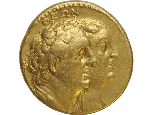 Ptolemaic Kings of Egypt, Ptolemy II,  Alexandria, Octadrachm, 285-246 BC 27.61g. Unpublished. Obverse: ΘEΩN, jugate busts right of Ptolemy I, diademed and wearing aegis, and Berenike I, diademed and veiled, serpent staff left at border. Reverse: AΔEΛNΩ(N),  jugate busts right of Ptolemy II, diademed and draped, and Arsinoe II, diademed and veiled, shield to left. Well centered and struck in bright yellow gold.
