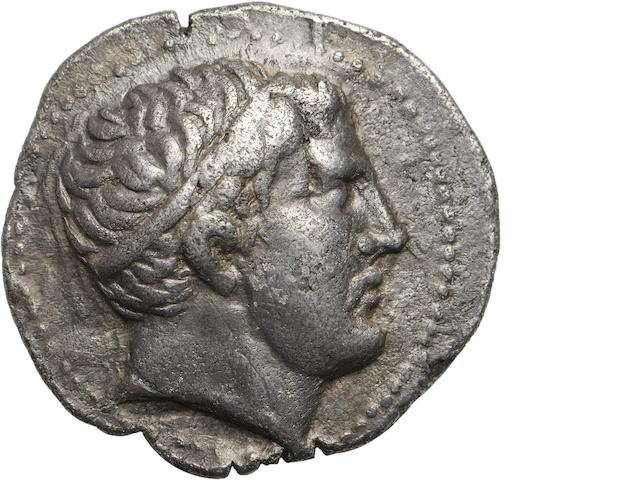 Paeonia, King Patraos, 335-315 BC, Tetradrachm 12.66g. Paeonian Hoard 73, SNG ANS-1046. Obverse: Head of King Patraos facing right, diademed. Reverse: ΓΑΤΡΑΟΥ in right field, horseman spearing fallen Macedonian. Well detailed and well centered.
