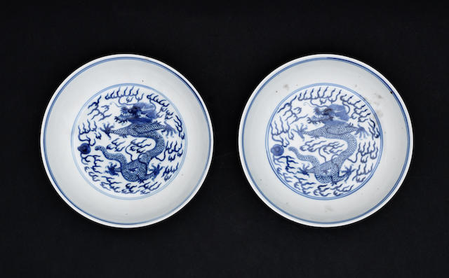 A near pair of blue and white, saucer dishes Guangxu six-character marks, and of the period
