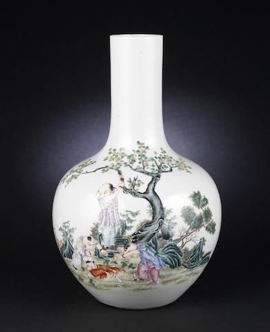 A famille rose, globular vase
