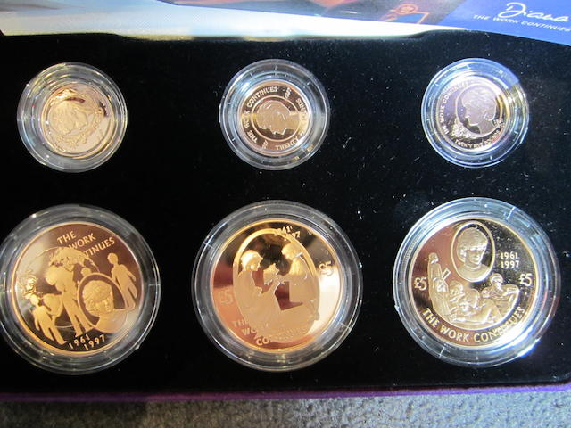 Elizabeth II, Diana, Princess of Wales Commemorative Gold Proof Collection, Channel Islands, 2002. Comprising: Three Five Pounds Proof Coins and three Twenty-Five Pounds Proof Coins.