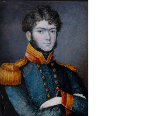 British School, (circa 1810) Portrait miniature of Captain Peter Duttry son of J. Duttry Esq of Ropley Hants, in uniform