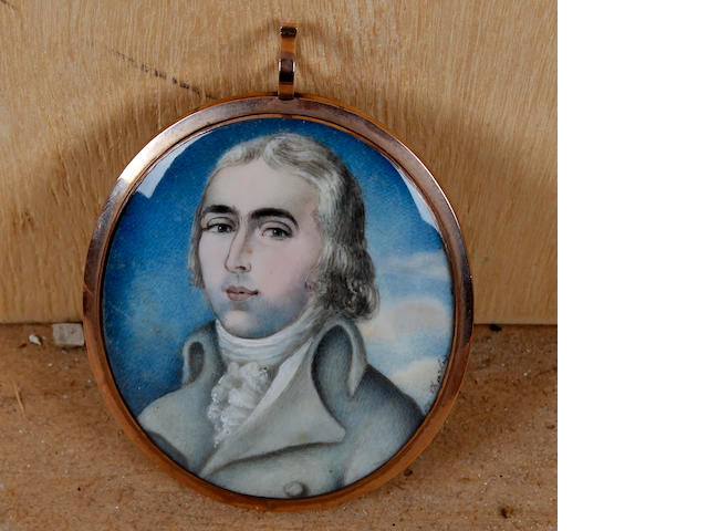 British School, (circa 1800) Portrait miniature of a gentleman wearing a grey jacket and white stock, oval