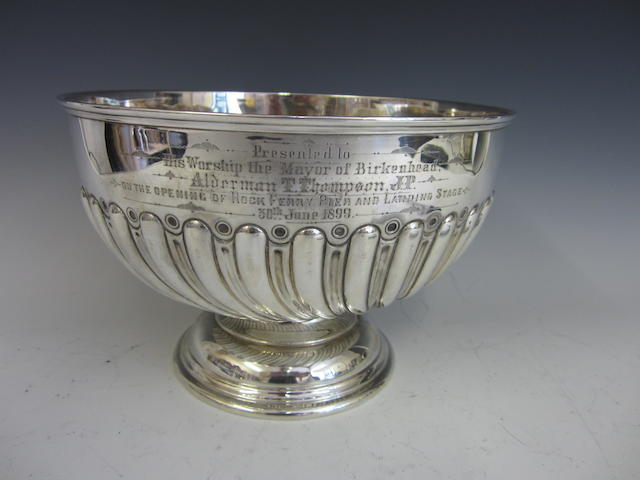 Of Rock Ferry Interest; A Victorian silver presentation punch bowl by Walker and Hall, Sheffield 1898