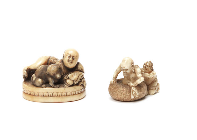 Two ivory figure netsuke One by Eishin, 19th century