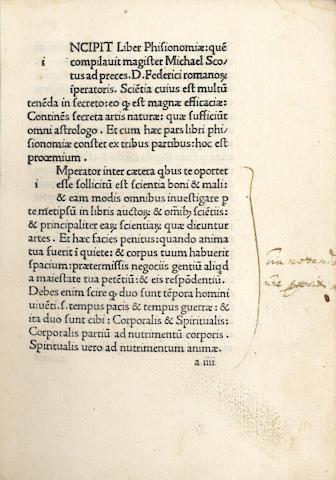 SCOTUS (MICHAEL) Liber physiognomiae, 1477