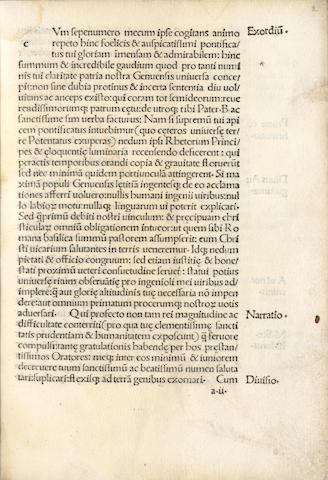 SPINOLA (JACOBUS) Oratio gratulatoria ad Alexandrum VI nomine Genuensium habita, [Rome, Eucharius Silber, after 12 Dec. 1492]