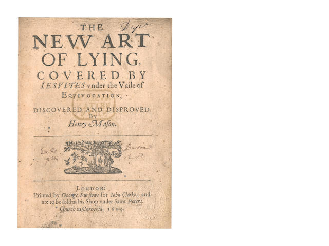 MASON (HENRY) The New Art of Lying, Covered by Jesuites Under the Vaile of Equivicotion, Discovered and Disproved, 1624