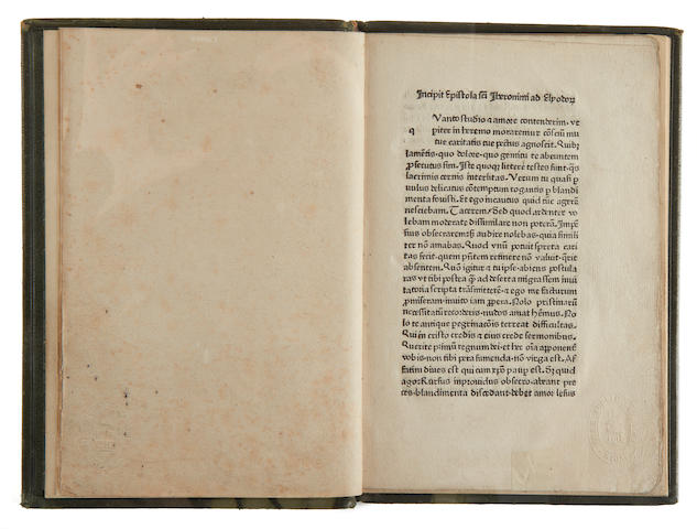 HIERONYMUS Vita et transitus, 6 leaves only, Cologne, Zel, c.1470