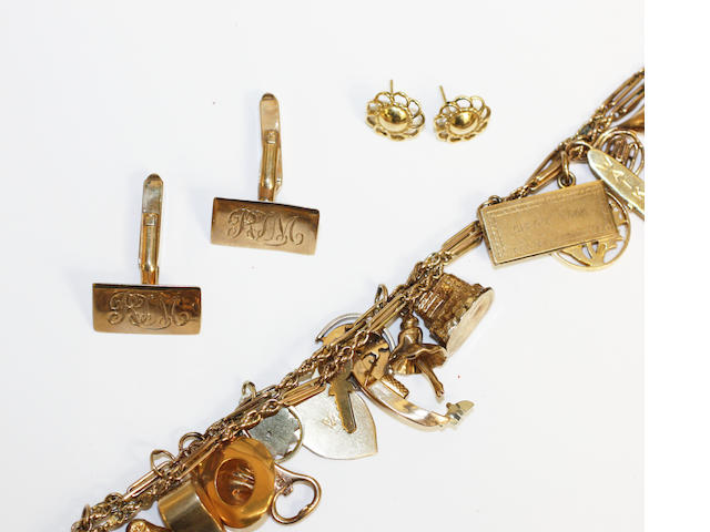 A 9ct gold charm bracelet with charms, a pair of 9ct gold cufflinks and a pair of 18ct gold ear studs (a lot)