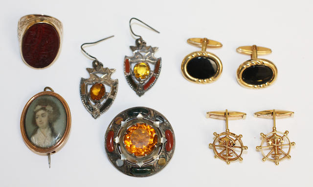A collection of jewelley, comprising two pairs of cufflinks, Islamic ring, scottish agate suite and a converted locket