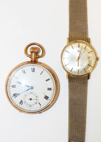 A 9ct gold Tissot wristwatch and a 9ct gold pocket watch