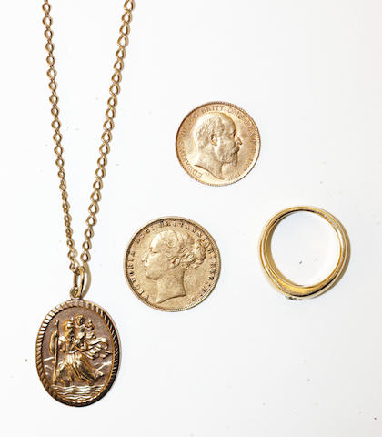 A sovereign, a half sovereign, a diamond ring and a St Christopher on a chain