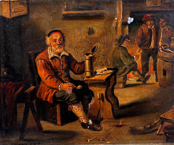 German School, (circa 1860) Children playing with young boy holding a frog, together with another, tavern scene with gentleman drinking and smoking a pipe seated at a table, a pair