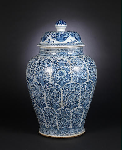 A large blue and white, baluster vase  Kangxi