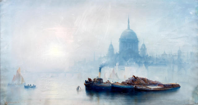 John Holden (British, 1864-circa 1910) Barges on the Thames, a capriccio