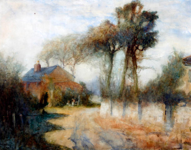 Walter Emsley (British, active 1883-1927) 'Characters by a cottage on a country lane'