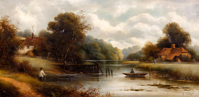 Charles Vickers (British, 19th Century) River landscape with cottages and figures, with figure in a boat