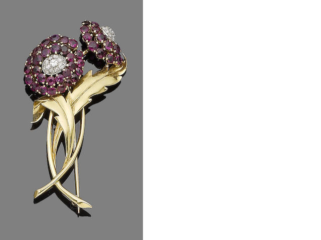 A ruby and diamond brooch, by Boucheron,